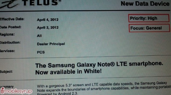 Is Samsung's white Galaxy Note set arrive in Canada on Telus tomorrow, Bell on April 10?