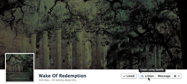 wake of redemption Facebook places Listen button on artist pages, now takes you to your go to streaming app instantly
