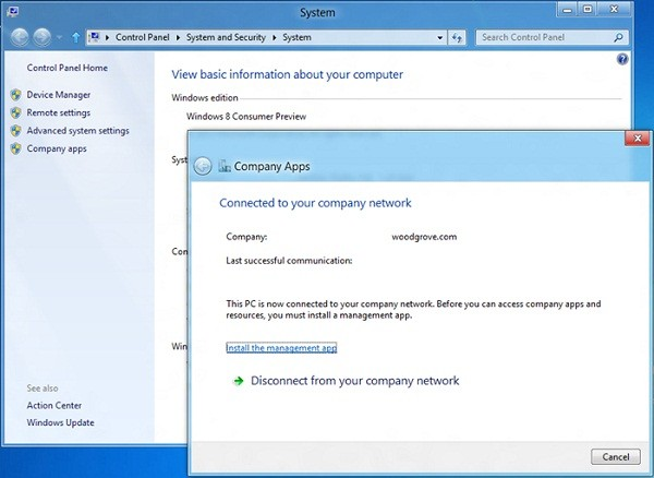 Windows RT company connect