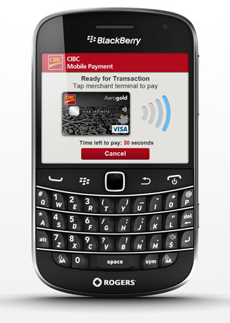 BlackBerry Bold 9900 Rogers mobile payment with CIBC
