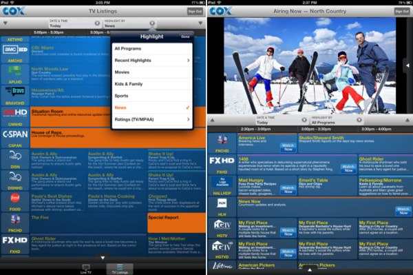 Cox TV Connect live TV streaming app for iPad updated with new grid guide UI