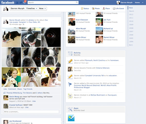 facebook timeline wall