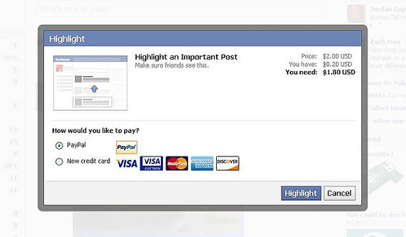 Facebook testing 'highlight' feature, lets users pay $2 to promote their status updates