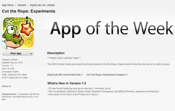 Apple introduces free app of the week, kicks things off with Cut the Rope: Experiment