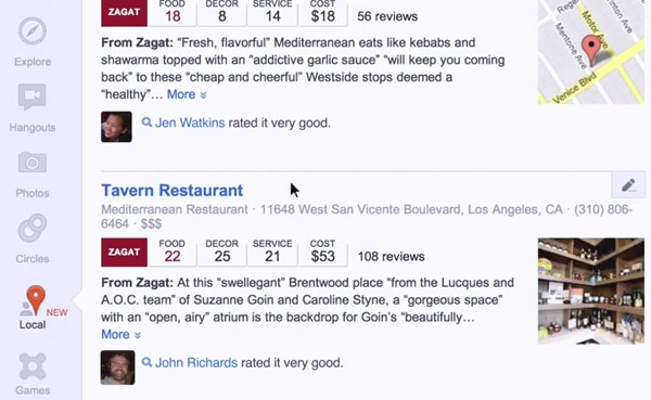 google plus local Google+ Local sees reviews from friends, Zagat invade your restaurant hunts (video)