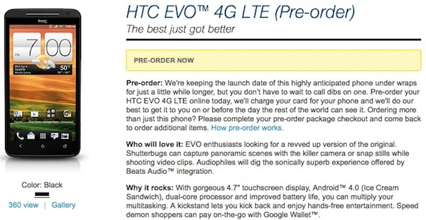 PSA: Sprint HTC EVO 4G LTE up for pre-order today, release date still unknown