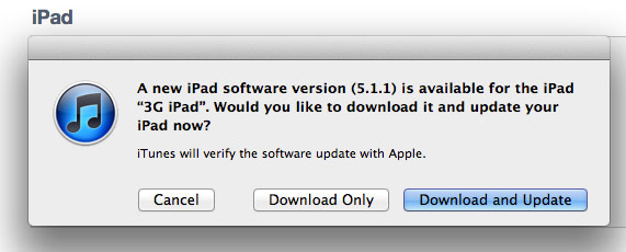 ipad update ios 5.1.1