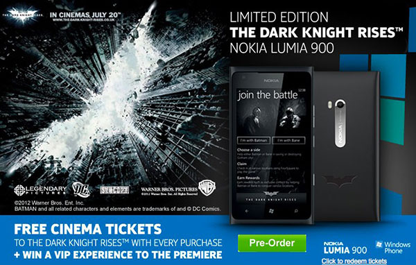 Batman Nokia Lumia 900 priced at 600, throws in some free movie tickets