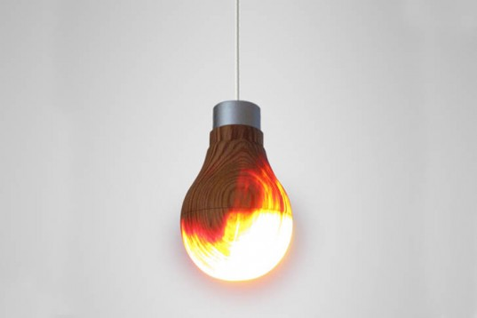 wooden light bulb