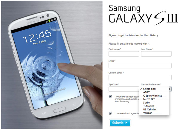 Galaxy S III sign-up page