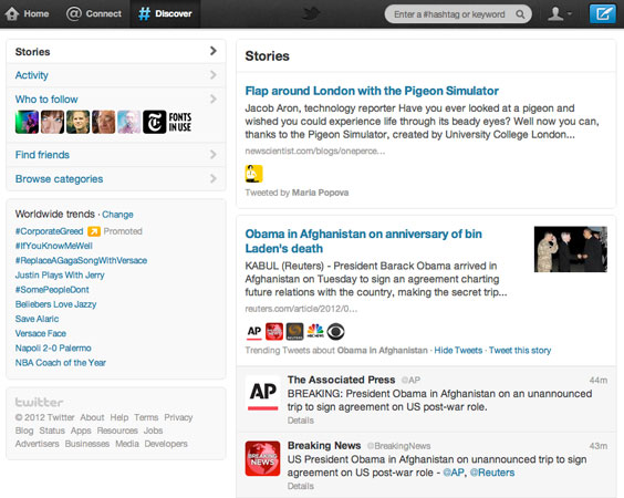 Twitter's Discover tab now snags popular stories and commentary from those in your Twitterverse