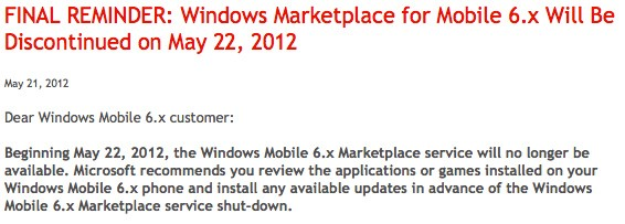 PSA: Marketplace for Windows Phone 6.x shuts down today