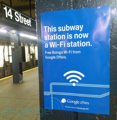 Boingo, Google Offers bring free WiFi to select Manhattan subway stations, let you tweet the heat