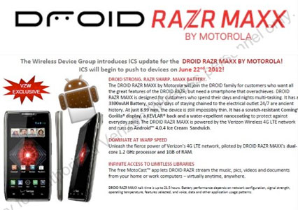 Droid RAZR and RAZR Maxx get Android 40 update rollout starts June 22