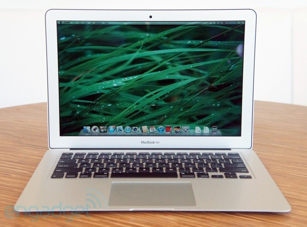 MacBook Air 13-inch front view with grass wallpaper