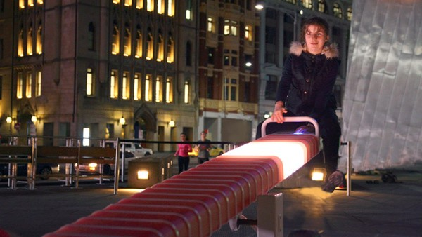 Light up seesaw makes Australia's Federation Square feel like a kid again