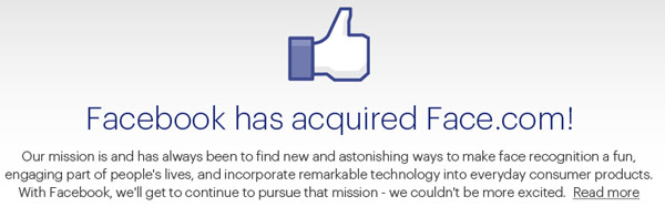 Facecom acquired by Facebook for an estimated $80 million, facial tagging clearly at the forefront