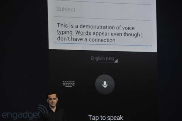 Android Jelly Bean input options include updated keyboard, offline voice dictation, audio