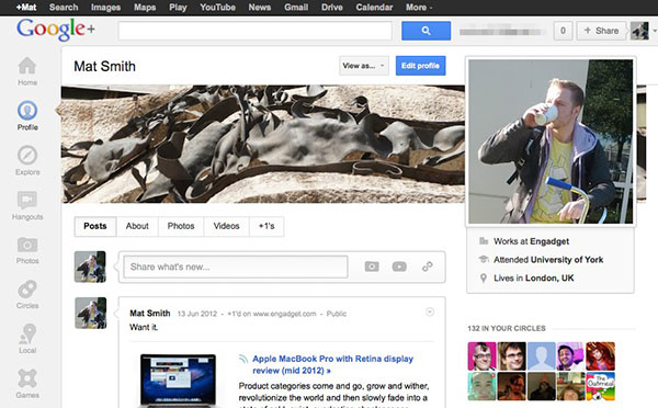 Google adds profile updates, learns from the competition