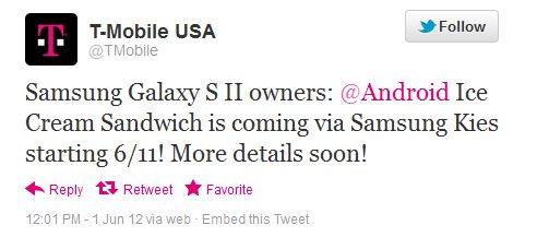 TMobile Samsung Galaxy S II getting ICS June 11th