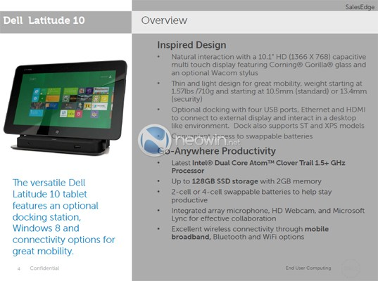 More slides on Dell's Windows 8 Latitude 10 tablet surface, detailing launch timeframe and docking station
