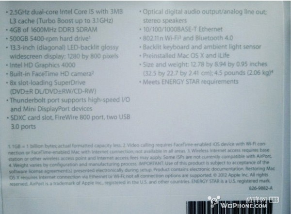 Possibly fake Macbook Pro spec sheet USB 30, Ivy Bridge and no Retina Display
