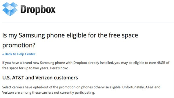 Dropbox confirms Galaxy S III on AT&T and Verizon won't include 50GB extra storage