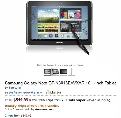 Galaxy Note 101 up for preorder on Amazon US $549 with quadcore CPU in tow