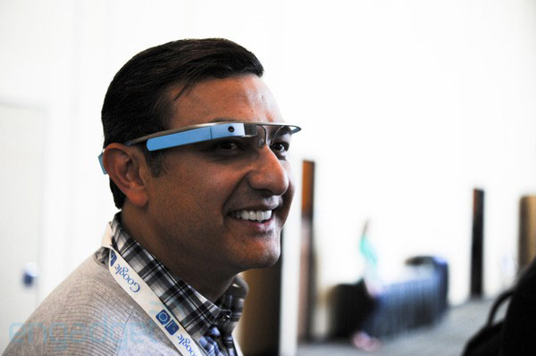 Photos of Google's Vic Gundotra wearing the latest, bluehued Glass prototype