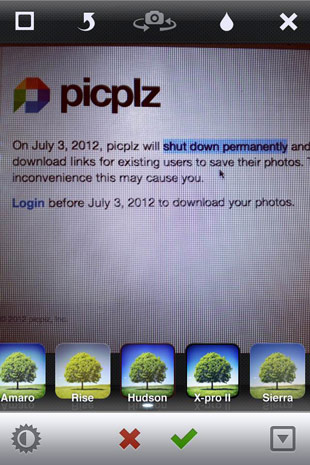 PicPlz shutting down permanently on July 3rd, all photos to be deleted