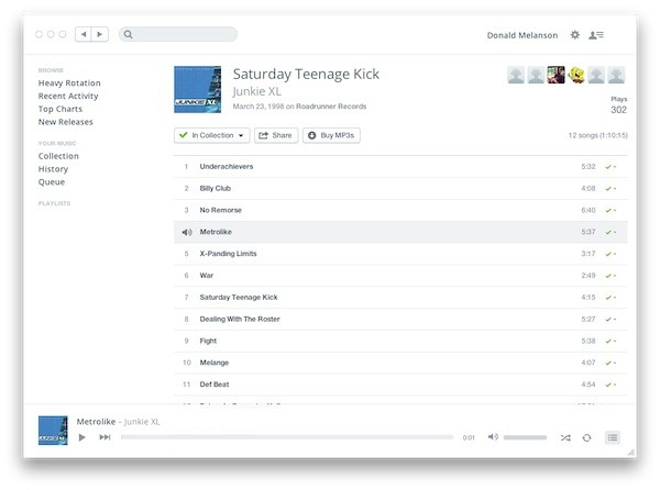 Rdio goes minimalist, tries another redesign on for size