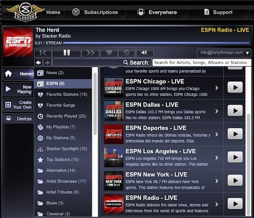 Slacker now streaming six ESPN stations, Radio and Deportes amongst them