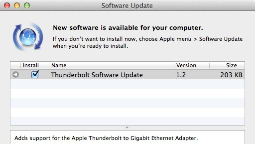 Apple Thunderbolt Software Update causing sporadic errors, frozen boot screens