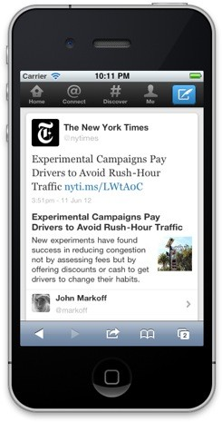 Twitter expanded tweets on iPhone with New York Times