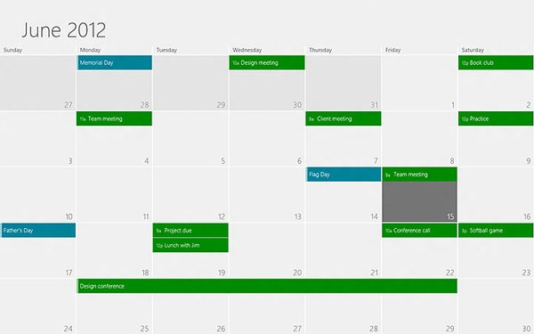 Microsoft Windows 8 Calendar App Design