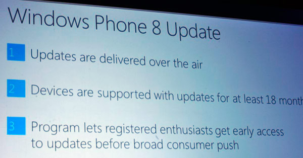wp8 updates Windows Phone 8 updates coming over the air, early access to registered enthusiasts, 18 month support program announced