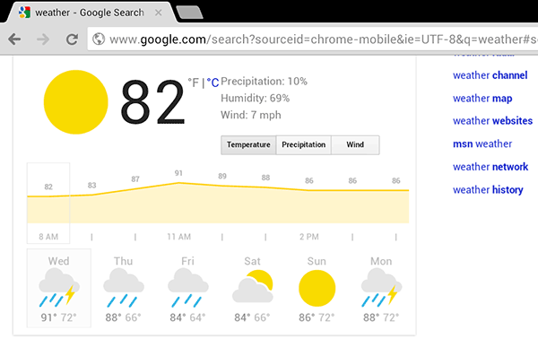 Google adds browserbased interactive weather feature to tablets with temperature, wind and precipitation