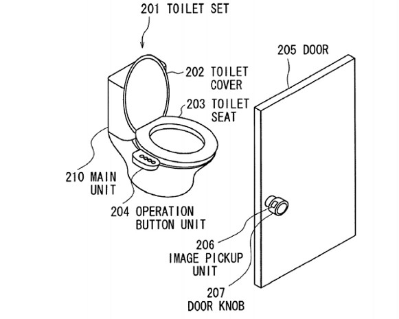 diagram showing sony's patented vein reading system in use in a toilet