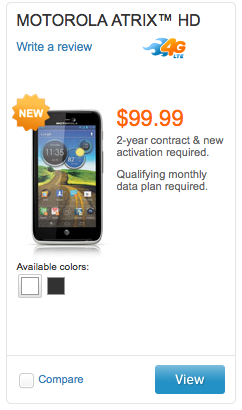 Motorola Atrix HD now on sale at AT&amp;T $  100 on contract for LTE, 720p and ICS