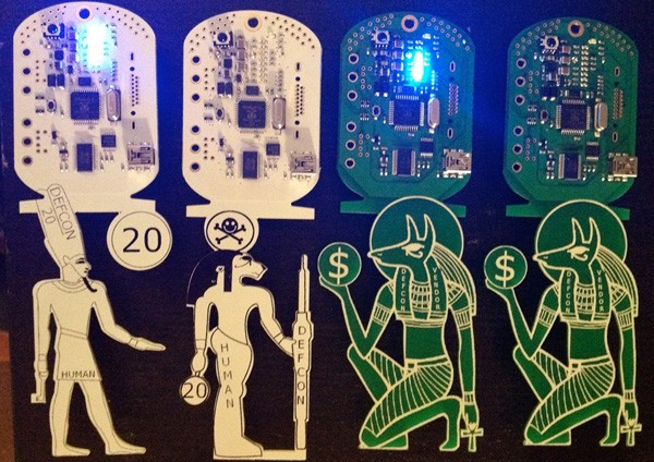 The Hacker Olympics Defcon 20 badges meld ancient Egyptian hieroglyphs, circuitry and cryptography for nerd scavenger hunt
