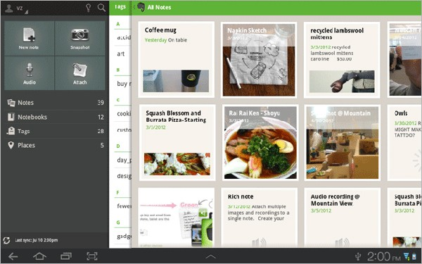 Evernote updates Android app with new tablet UI, swipe navigation