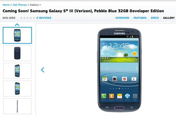 Galaxy S III dev edition sales page goes live, 'coming soon' for VZW freedomlovers