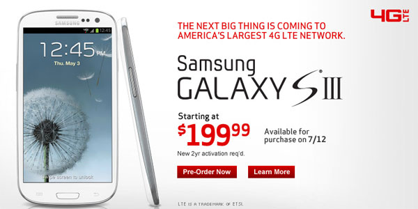 Verizon website pushes Galaxy S III availability back two days, still shipping preorders