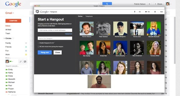 hangouts in gmail   youtube Hangouts come to Gmail, let you launch virtual meetings from your inbox