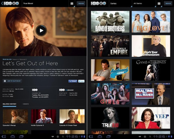 HBO Go update support Android tablets up to ICS