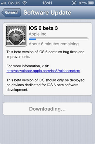 iOS 6 beta 3 wends its way to developers