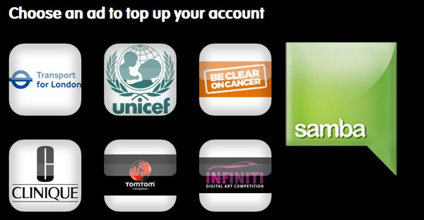 Samba launches adsupported mobile data in the UK, makes you dance for your internet
