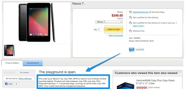 Nexus 7 gets midJuly arrival dates from Staples in North America