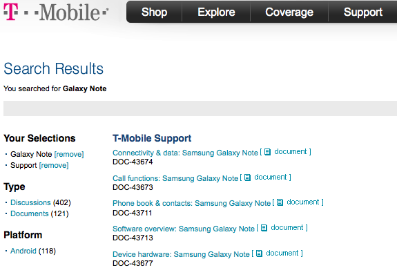 Samsung Galaxy Note documents pop up on T-Mobile's site, grand entrance can't come soon enough