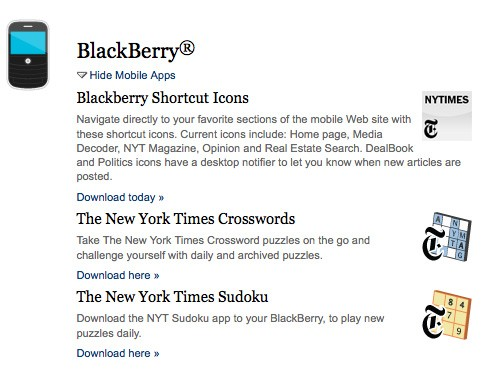New York Times ends support for BlackBerry, WebOS apps